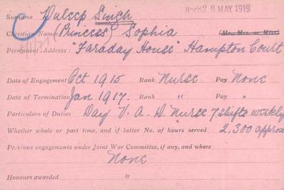 VAD service card of Princess Sophia Duleep Singh