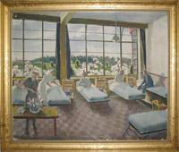 Framed oil painting by Doris Zinkeisen featuring C Ward, 101 British General Hospital, Louvain