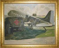 Framed oil painting by Doris Zinkeisen featuring an air ambulance being unloaded near Bruges