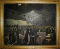 Framed oil painting depicting the British Red Cross issuing comforts to Prisoners of War upon their arrival at barracks in Brussels, 1945
