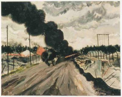 Oil painting showing the burning of Bergen-Belsen Concentration Camp, 1945
