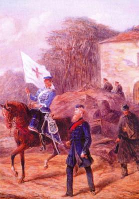watercolour painting by Robert Thomas Landells depicting Colonel Robert Loyd-Lindsay and Mr Whittle, both on foot, at Versailles.