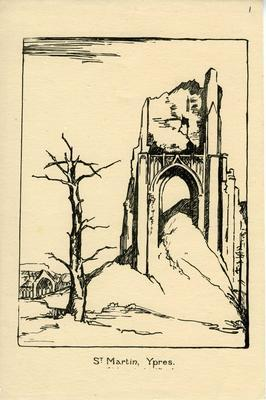 At Martin, Ypres; Olive Mudie Cooke (b.1890, d.1925); Printed Docs (museum)/lithograph; 0046/1