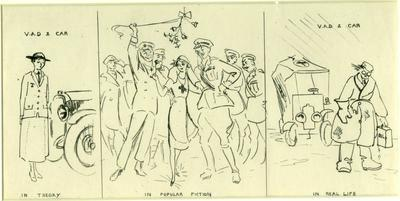 Caricatures: 'The VAD in theory, popular fiction and practice'; Olive Mudie Cooke (b.1890, d.1925); Printed Docs (museum)/lithograph; 0046/2