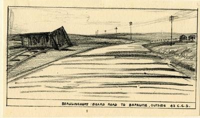 Beaulincourt: Board Road to Bapaume, outside 43 C.C.S.