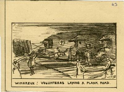 Wimereux: volunteers laying a plank road