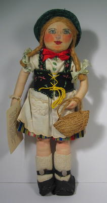 Rag doll made in Civillian Internment Camp ILAG Wurzach by Mrs F G Fish.