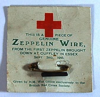 Piece of Zeppelin wire from the first Zeppelin brought down at Cuffley, Essex