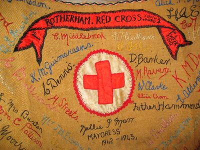 sacking cloth with embroidered names produced by Rotherham Red Cross for the Penny a Week fund