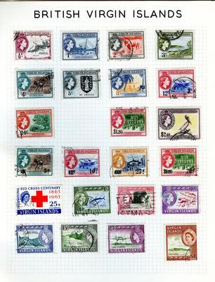 Stamp album, contains pages of stamps collected from St Kitts-Nevis-Anguilla to Zanzibar.
