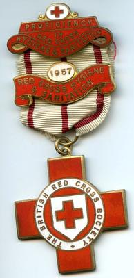 Proficiency badge: Red Cross Hygiene and Sanitation with bar 1957