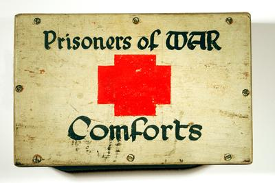 wooden collecting box: 'Prisoner of War Comforts'