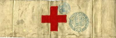 brassard with cloth emblem and stamp of the 'British National Society for Aid to Sick and Wounded in War'