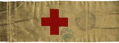 brassard worn by a volunteer with the British National Society for Aid to Sick and Wounded in War' during the Franco-Prussian War