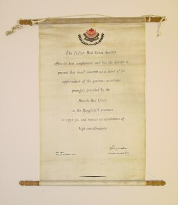 silk scroll presented by the Indian Red Cross Society for assistance to Bangladeshi evacuees, 1971-1972
