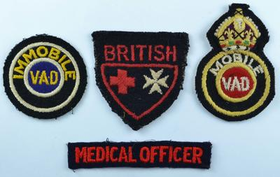 Cloth insignia: Immobile VAD, mobile VAD, Joint War Organisation and 'Medical' Officer