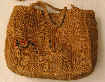 Bag made from knitted string.