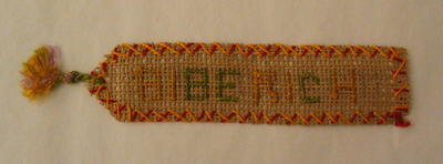 Bookmark, with the word 'Biberich' in cross-stitch.