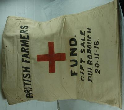 Sack used as a banner for: 'British Farmers Gift Sale Pulborough 20/11/16'.