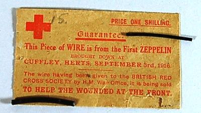 pieces of zeppelin wire sold in aid of the British Red Cross