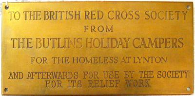 Engraved brass plaque: Butlins