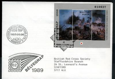 First Day Cover: Hungarian Red Cross - Battle of Solferino, 1989.