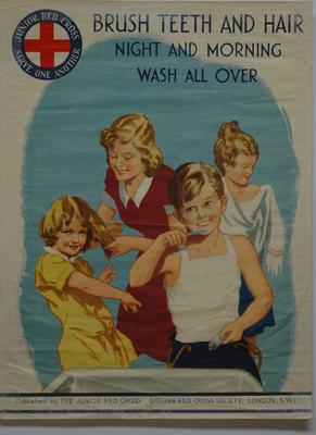 Part of the Junior Red Cross Health Laws: 'Brush Teeth and Hair Night and Morning - Wash All Over'