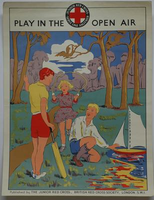 Junior Red Cross poster (signed 'Levy'): Play in the Open Air