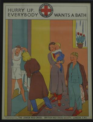 Junior Red Cross poster: Hurry Up, Everybody Wants a Bath