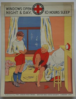 Junior Red Cross poster (signed 'Levy'): Windows Open Night and Day: 10 Hours Sleep