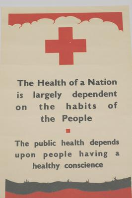 Poster promoting public health and the Red Cross