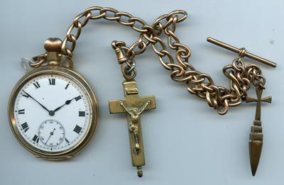 Gold fob watch inscribed FAJ with brass crucifix