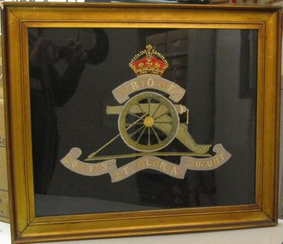 Framed embroidery: regimental badge of the Royal Regiment of Artillery
