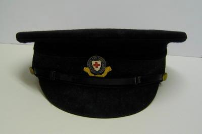 Men's peaked cap, with strap and blue enamel hat badge