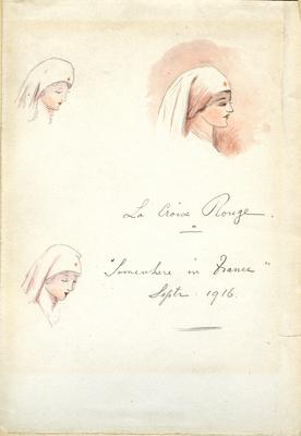 Pencil and watercolour drawing: 'La Croix Rouge - somewhere in France, Sept 1916'