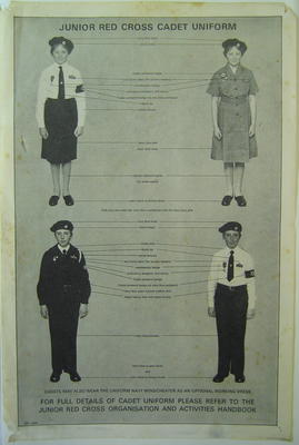 Junior Red Cross poster, illustrating cadet uniform
