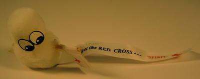 Fundraising stickers in form of small furry creatures with ribbon bearing text 'I've got the Red Cross... 'Spirit''