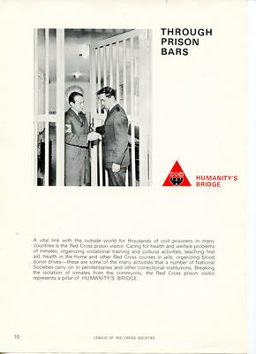 Set of League of Red Cross Societies posters: Humanity's Bridge - 'Through prison bars' illustrated with a black and white image.