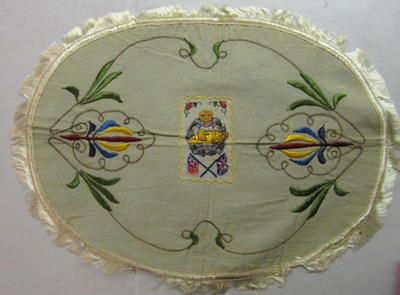 Piece of embroidery worked by wounded: Tank Corps badge