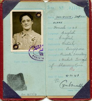 Identity Card of Daphne Davidson