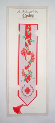 Fabric bookmark with design incorporating Red Cross emblem; Cash's (UK); Textiles/bookmark; 1277/2