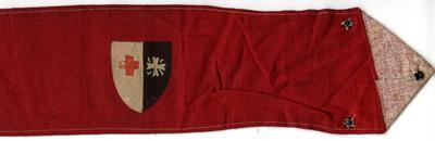 red cotton brassard with joint British Red Cross & OSJ emblems on shield