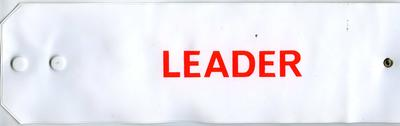 White PVC with red lettering: Leader