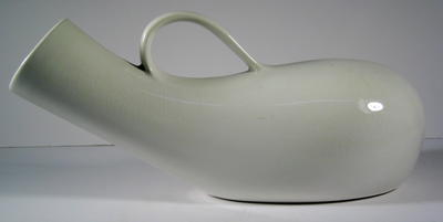 White earthenware male urinal with handle