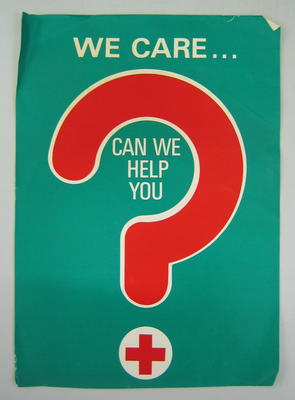 Medium-sized poster: 'We Care. Can We Help You?'