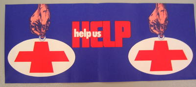 Small banner/poster: 'Help us Help'