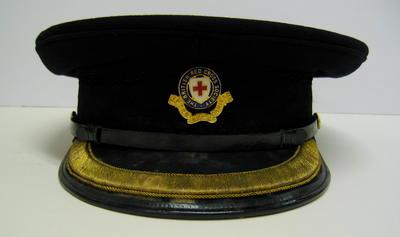 Officer's cap with gold trim and blue enamel hat badge
