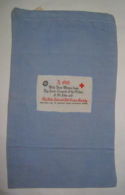 comfort bag from the New Zealand Red Cross with cloth label