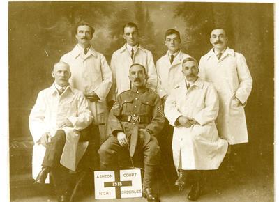 Group of night orderlies at Ashton Court Hospital 1918