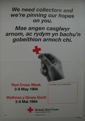 Four posters appealing for volunteers to help collect during Red Cross Week 1994